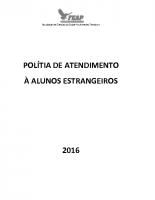 POLÍTICAS DE ATENDIMENTO A DISCENTES ESTRANGEIROS DA FUNDAÇÃO EDUCACIONAL DE ALÉM PARAÍBA _1_