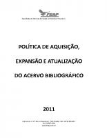 POLITICA AQUISIÇÃO ACERVO BIBLIOGRÁFICO