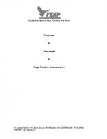 PROGRAMA DE CAPACITAÇÃO DO CORPO TÉCNICO ADMINISTRATIVO