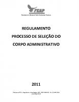 REGULAMENTO DE SELEÇÃO TECNICO ADMINISTRATIVO