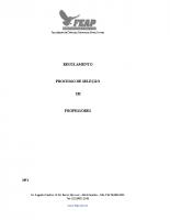 REGULAMENTO PROCESSO DE SELEÇÃO DE DOCENTES