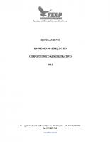 REGULAMENTO PROCESSO DE SELEÇÃO DO CORPO TÉCNICO ADMINISTRATIVO