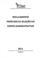 REGULAMENTO SELEÇÃO TECNICO ADMINISTRATIVO