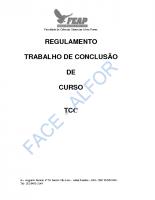 REGULAMENTO – TRABALHO DE CONCLUSÃO DE CURSO – TCC
